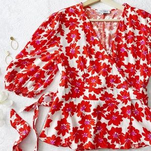 Chicwish Floral Wrap Top